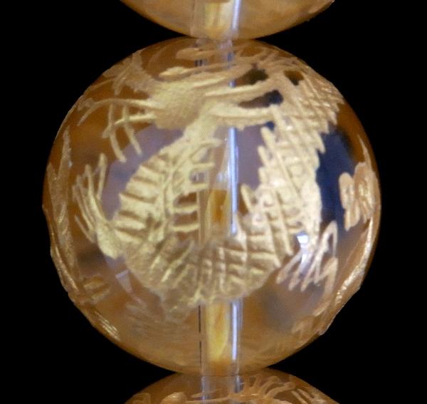 手彫り四神獣【オールインワン】水晶 一連 (金塗) 連売り 素材 パーツ 丸玉