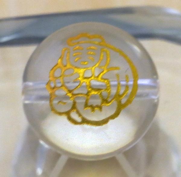 <金塗り>手彫り【七福神】(水晶)12mm-14mm丸玉♪穴有り