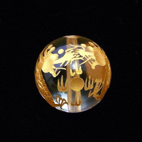 手彫り〈双龍金塗〉水晶(18mm)ブレスレット