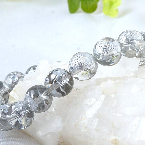 手彫り〈銀龍〉水晶(10mm)ブレスレット