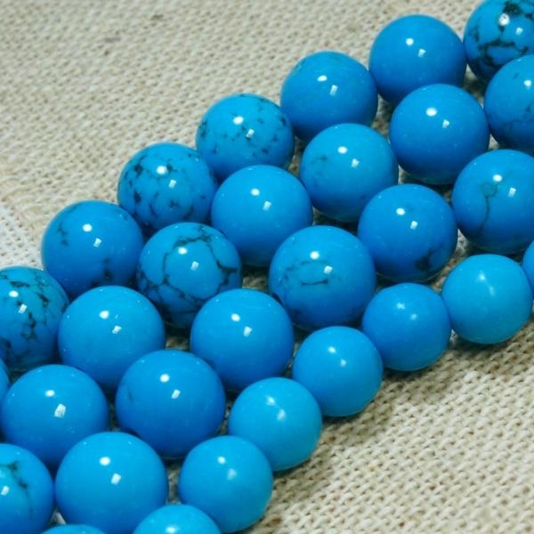 ブルーハウライトトルコ(染色ターコイズ) (φ6mm-12mm) 一連 連売り 素材 パーツ 丸玉