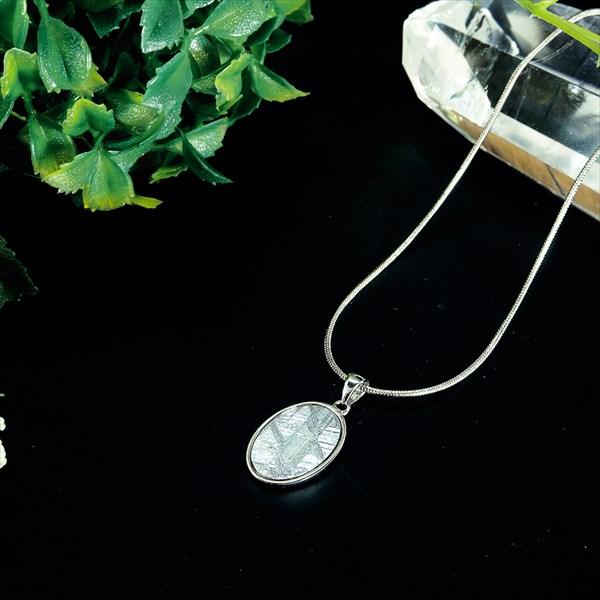 ナミビア産 ギベオン隕石 ペンダント ネックレス 18×12mm プラチナ仕上げ50cmスネークチェーン付き メンズ