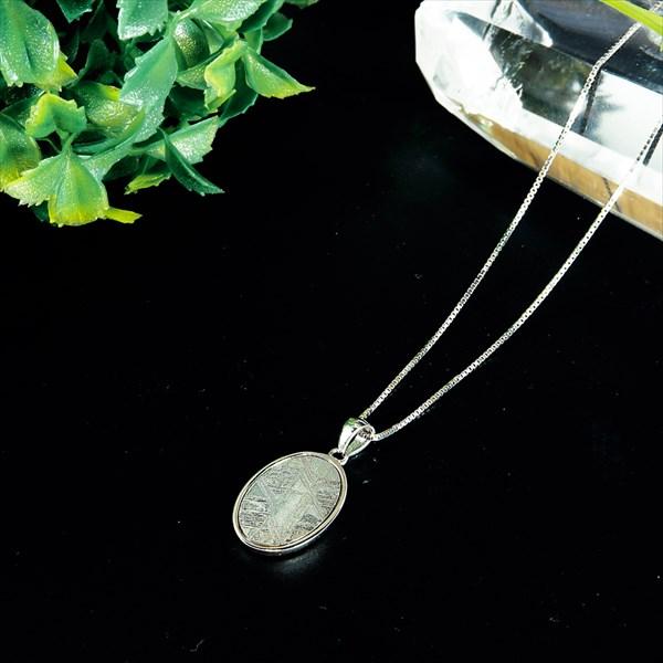 ナミビア産 ギベオン隕石 ペンダント ネックレス 18×12mm プラチナ仕上げ sv925 ベネチアンチェーン付き