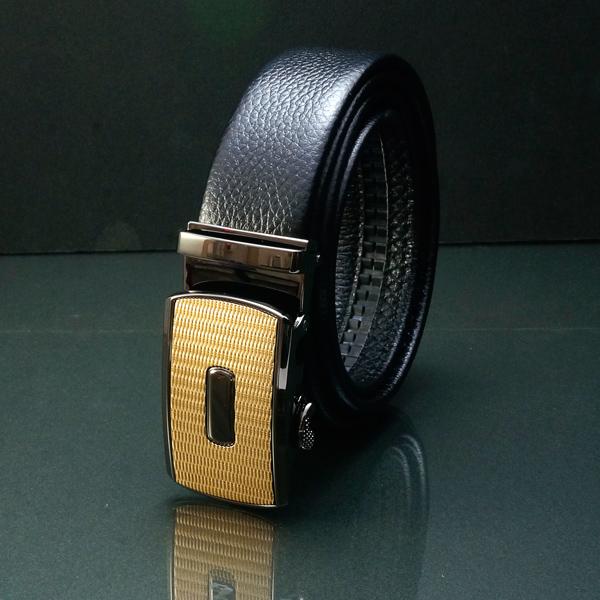最高級★柔らかい若牛の表層革使用 オートロック ベルト メンズ 牛革 レザー 穴なし (幅3.5cm 10種)