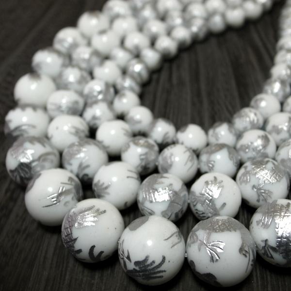 ホワイトオニキス☆彫刻青龍 一連 (φ8-16mm) 連売り 素材 パーツ 丸玉