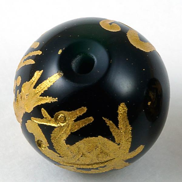 手彫り四神獣【オールインワン】オニキス 一連 (金塗) 連売り 素材 パーツ 丸玉