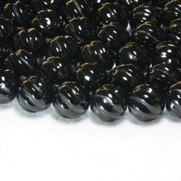 スクリュー彫刻 「魔よけ」のお守り石☆黒オニキス 一連 (Φ6mm-12mm) 連売り 素材 パーツ 丸玉