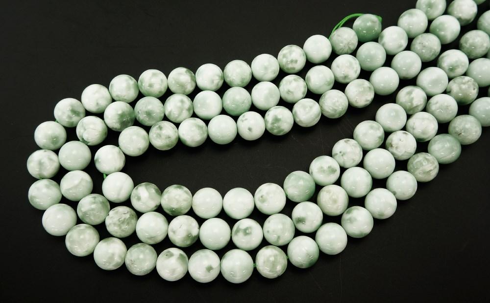 ドミニカ共和国産 グリーンラリマー (緑海紋石) 12mm 一連 連売り 素材 パーツ 丸玉 天然石 パワーストーン material