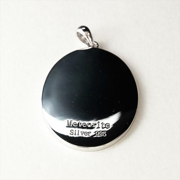 ナミビア産 ギベオン隕石 ペンダント ネックレス 36×28mm プラチナ仕上げ スネークチェーン付き