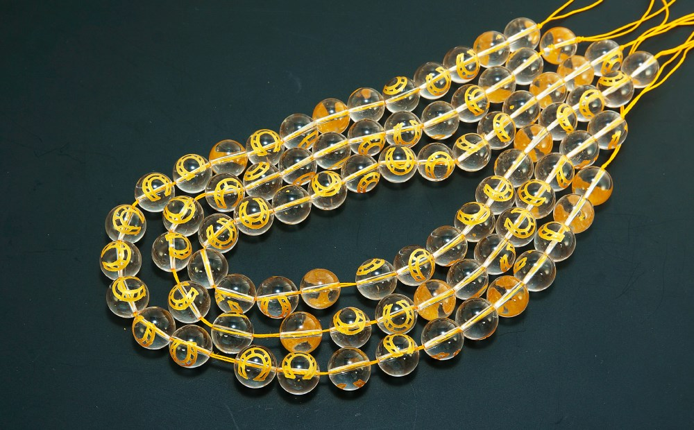 彫刻馬蹄水晶φ14mm一連 連売り 素材 パーツ 丸玉
