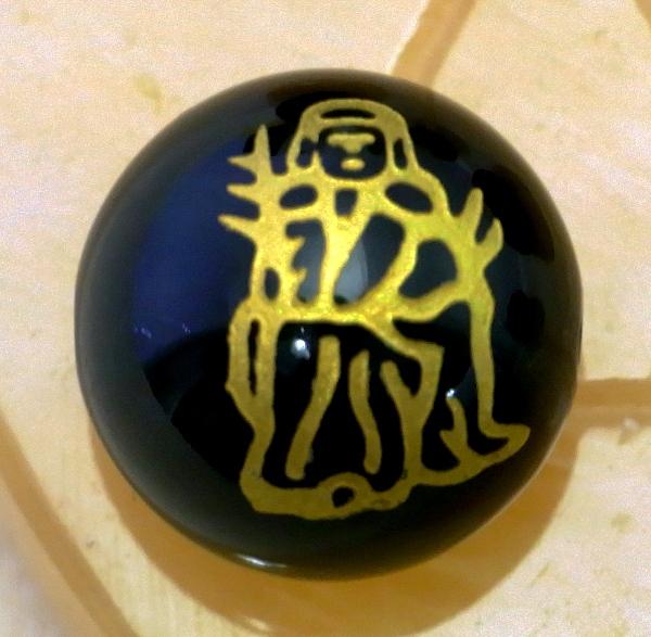 <金塗り>手彫り【七福神】(黒オニキス)12mm-14mm丸玉♪穴有り