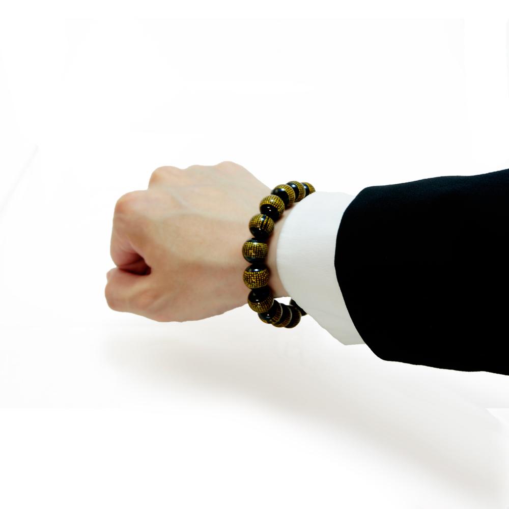 オニキス 12mm 『般若心経』 (はんにゃしんぎょう) ブレスレット 天然石 パワーストーン