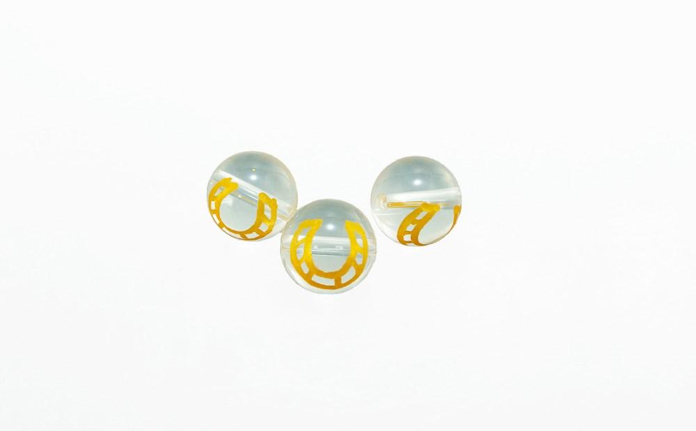 彫刻馬蹄水晶φ14mm単珠 粒売り 素材 パーツ 丸玉