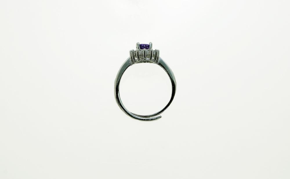 ブラジル産 アメジスト リング 指輪 フリーサイズ サイズフリー 真鍮 ロジウムメッキ CZ レディース