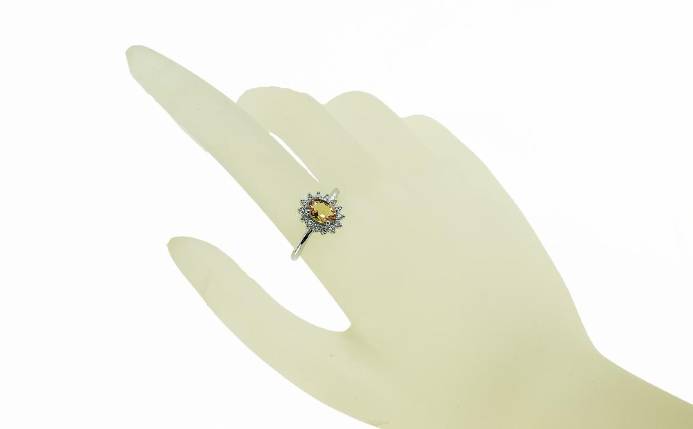 ブラジル産 シトリン リング 指輪 フリーサイズ サイズフリー 真鍮 ロジウムメッキ CZ レディース