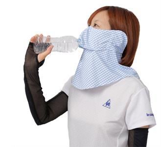 【YAKeNu】ヤケーヌ ギンガム 耳カバー付 /日焼け防止専用マスク UVカットマスク フェイスカバー 苦しくない 顔 首 の 日焼け止め 紫外線対策グッズ