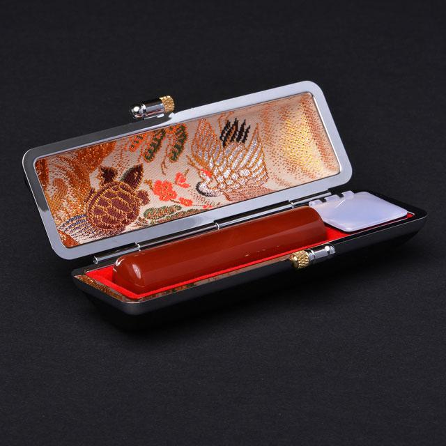実印 宝石印  メノー(赤) 15ミリ丸