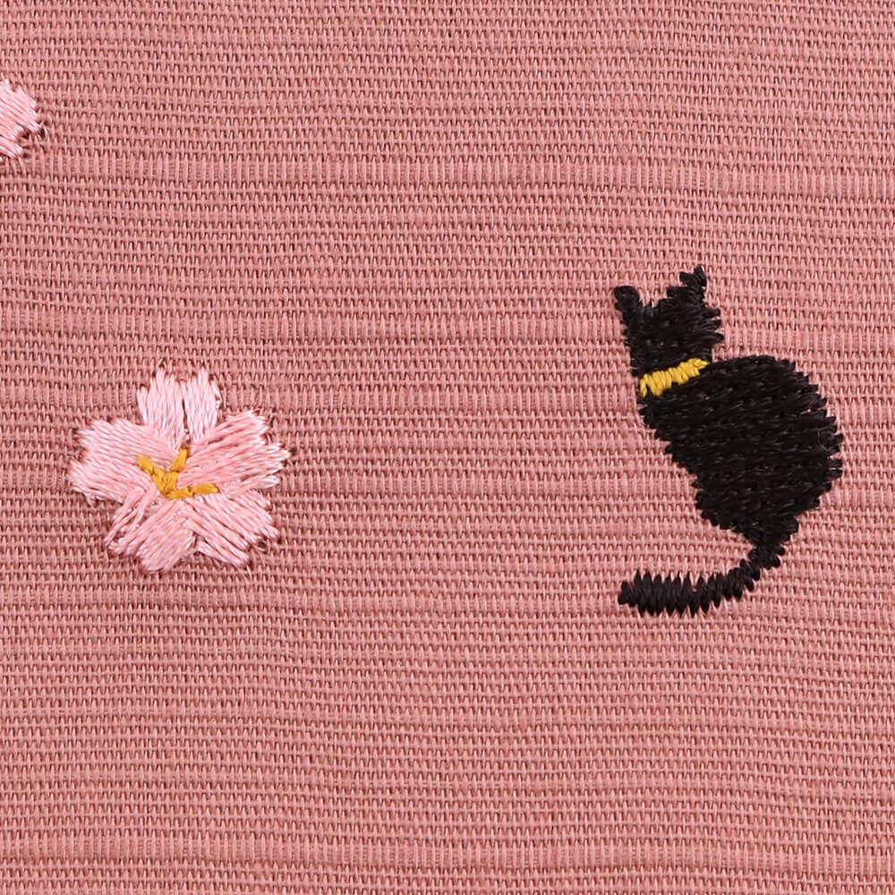 季節のぷち刺繍 御朱印帳 桜ネコ (ピンク)