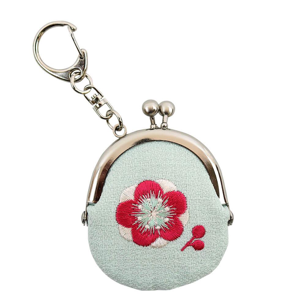 花刺しゅう おまいりがま口 梅(水色)