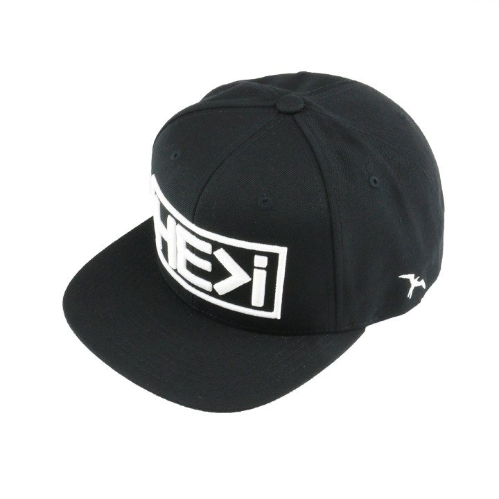 HE>i   White On Black Snapback Hat