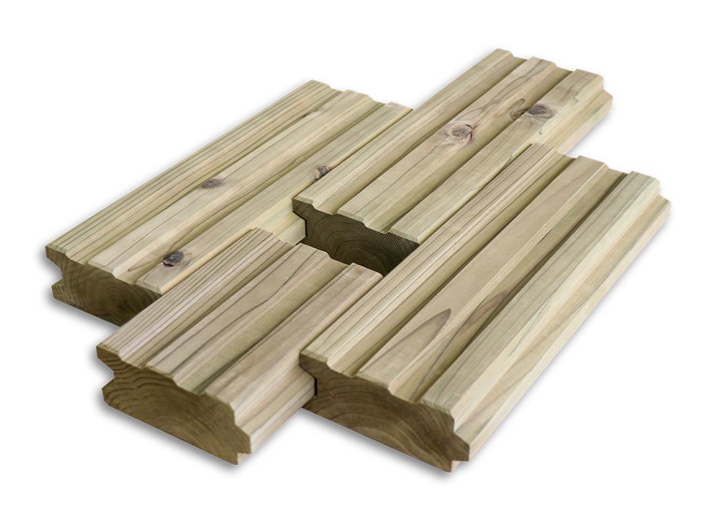 ※12月出荷※簡単に設置できる木製タイル MUKUタイル ストレートタイプハーフサイズ  12個セット