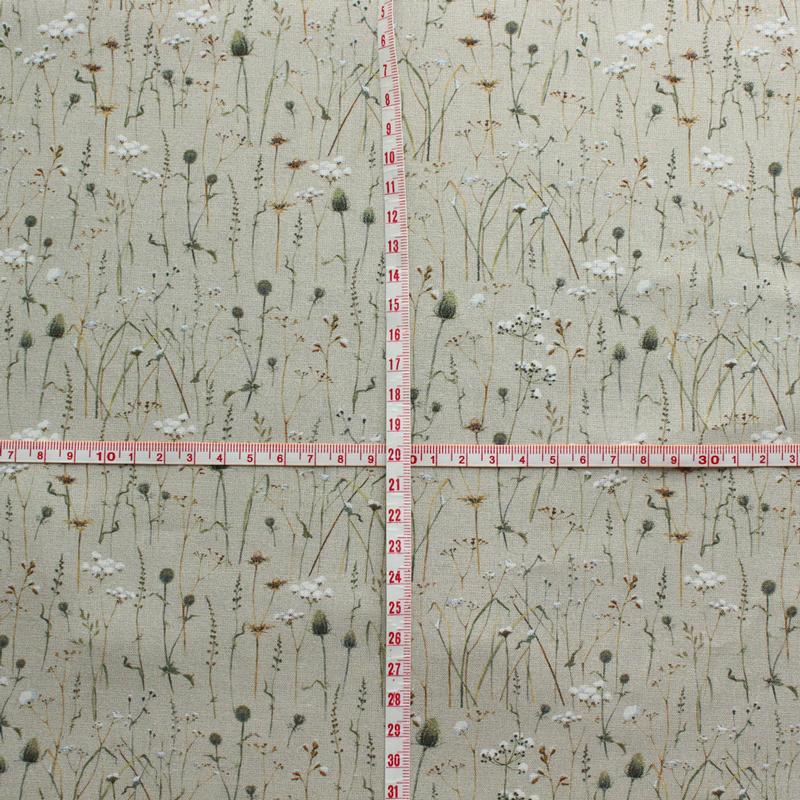 【140cm×50cm】ドイツ輸入生地 acufactum767 コットン、あざみ、冬の草原柄の生地 ミルクティカラー