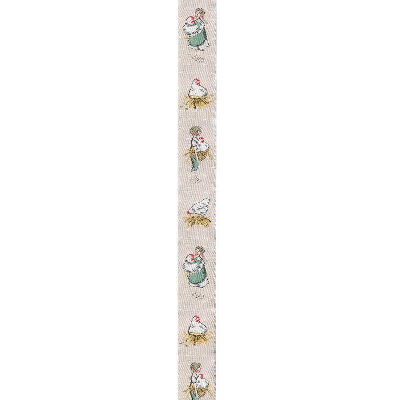 acufactumアクファクタム【50cm単位】約幅16mm-縦柄/ニワトリを抱く少女と少年柄ジャガードリボン