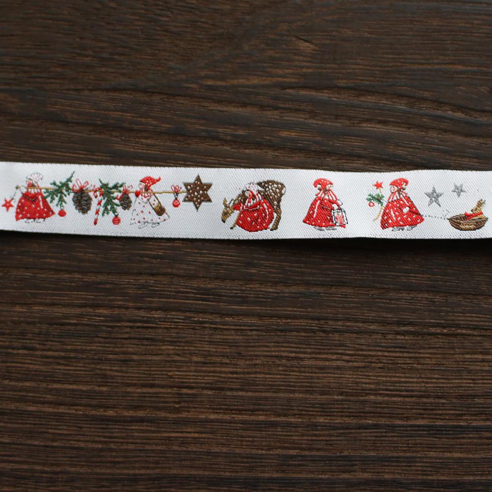 【50cm単位】acufactum306 約幅16mm/クリスマスを楽しむ女の子 うさぎ バンビ柄ジャガードリボン チロリアンテープ