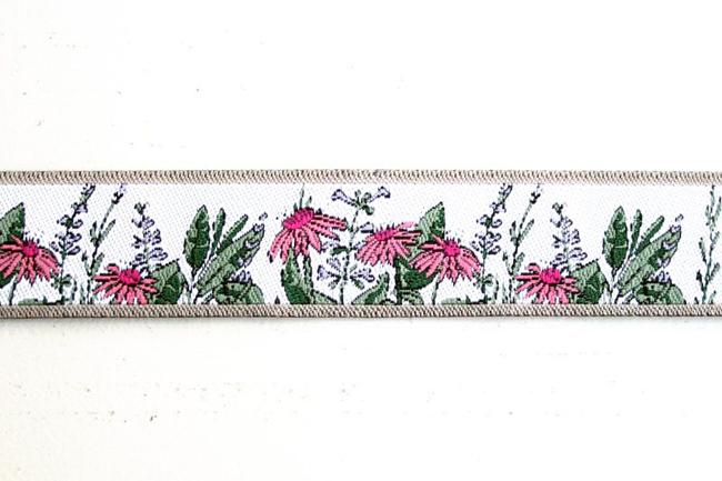 【acufactum195】 ドイツ製/アクファクトゥム 16mmラベンダーとマーガレットのお花柄ジャガードリボン