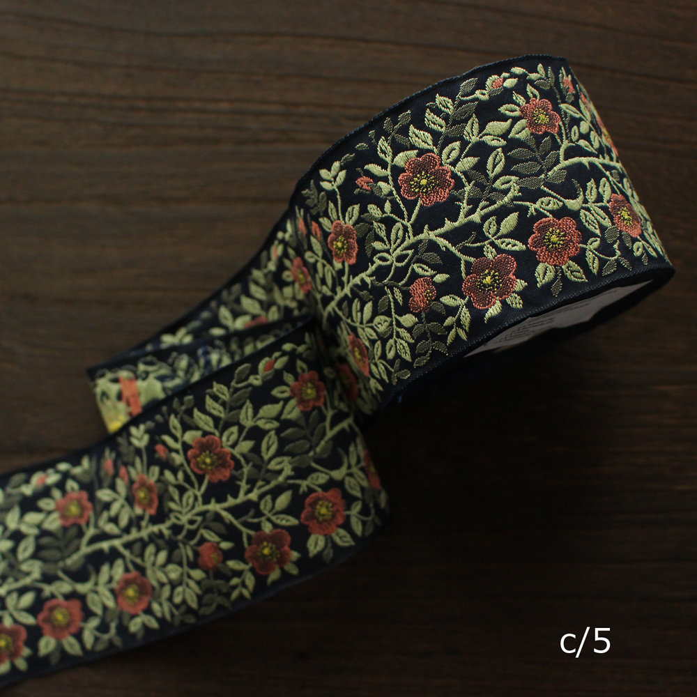 KAFKA カフカ社【50cm単位】約幅60mm-野ばら柄ジャガードリボン