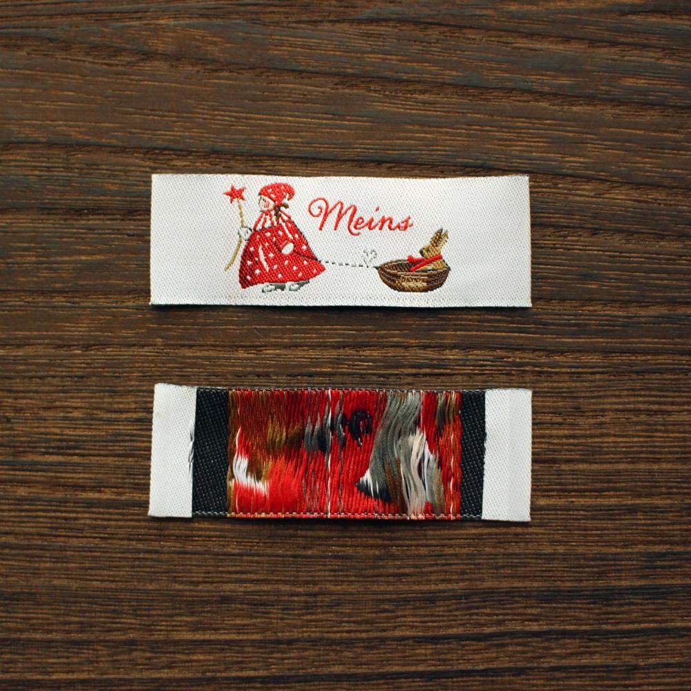 【acufactum307】 約1.9cm×約5.6cm-acufactum306 クリスマスを楽しむ女の子 うさぎ柄 タグ ラベル 織ネーム