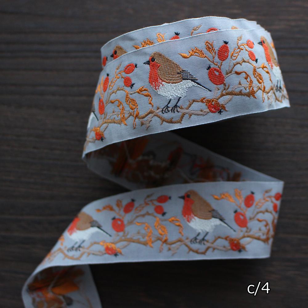 kafka カフカ社【50cm単位】約幅40mm コマドリ柄(小鳥柄 野鳥)チロリアンテープ ジャガードリボン