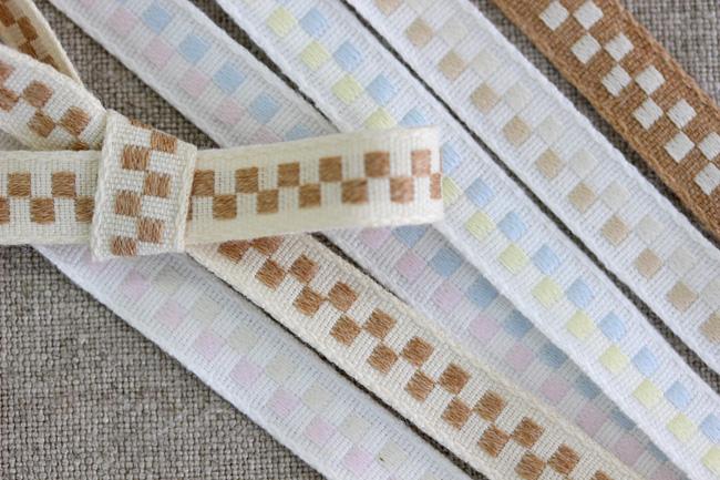 【6色】No,1218-10mm オーガニックコットンリボン チェック柄テープ