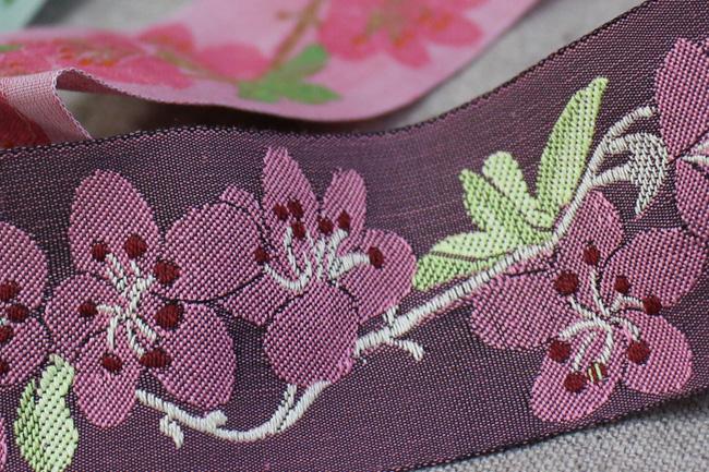 KAFKA カフカ社【50cm単位】約幅40mm-さくら・桜の花柄チロリアンテープ ジャガードリボン