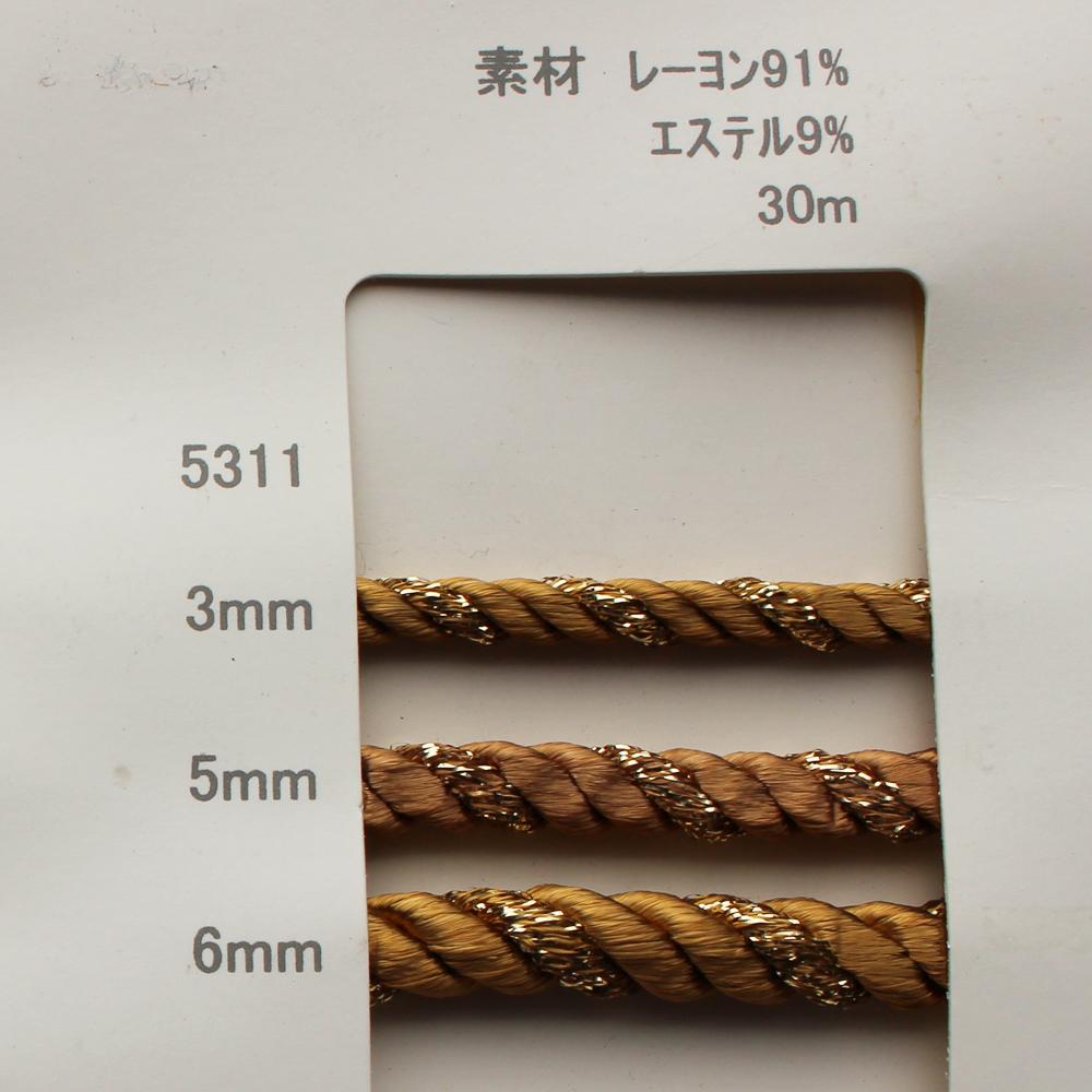 ラメツイストコード【3�・5mm・6mm幅/30m巻き】5311Dラメ入りコード