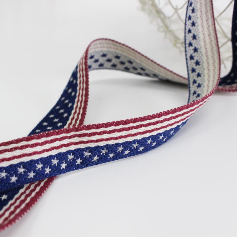 【18&24mm】No.3961 アメリカンフラッグのジャガードリボン 星条旗柄チロル