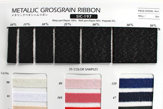 【35色/7幅】sic197 メタリックペタシャムリボン ラメ入りグログラン SHINDOシンドウリボン