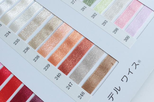 【52色/8幅】No,6255 シャイニーオーガンジーリボン 30m巻