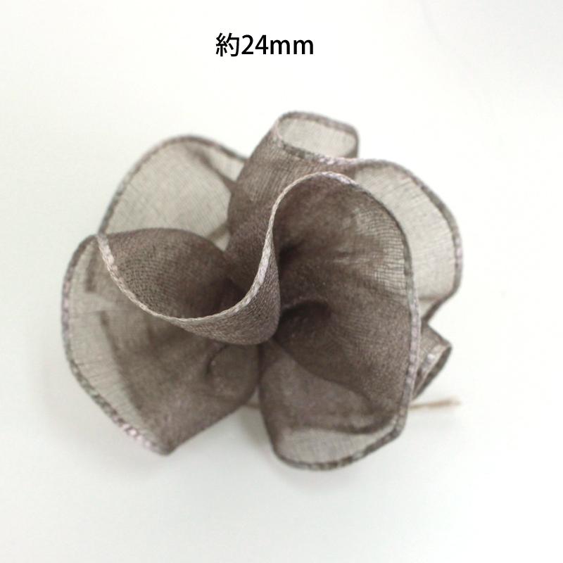 オーガンジーフラワー(Fローズフラワー)24mm&48mm フラワーリボン 1反10m巻<BR>クシュクシュリボン