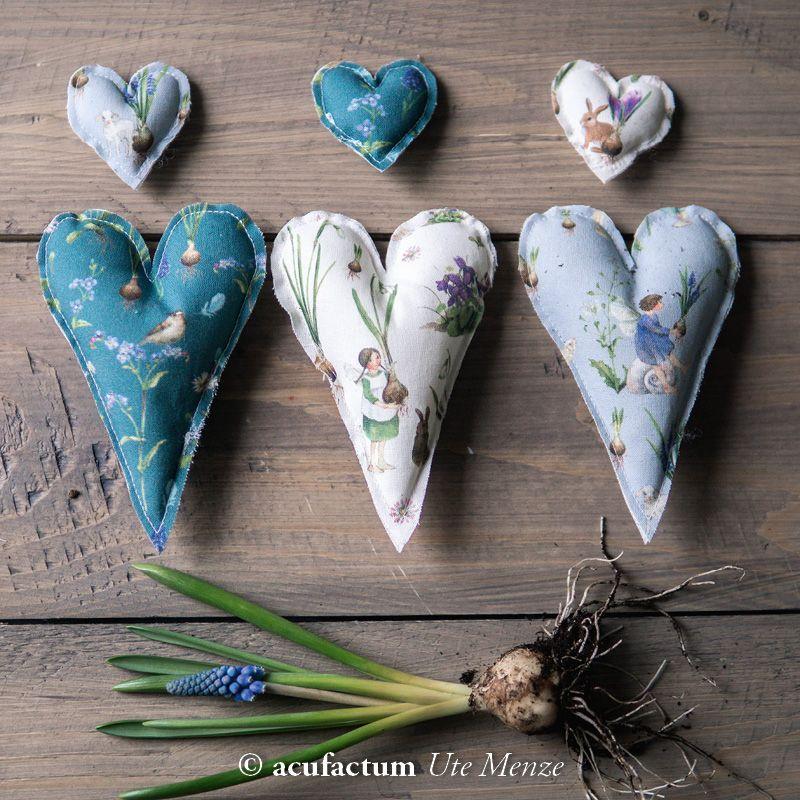 【140cm×50cm】ドイツ輸入生地 acufactum792 球根、スミレ、うさぎ、すずらん、春の花の妖精柄の生地 ナチュラル