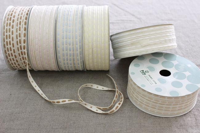 【7色/2幅】No,1205オーガニックコットンリボン ステッチ柄テープ 6mm・12mm