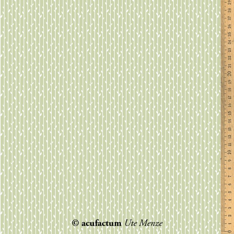 【140cm×50cm】ドイツ輸入生地 acufactum793 ストライプリーフ グリーンの生地