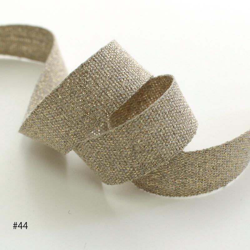 【2色】1190-15mm ラメリネンリボン シルバー&ゴールド
