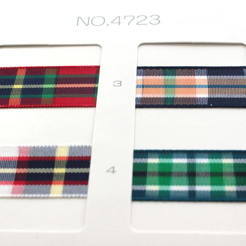 【約15mm幅/4色】MOKUBA 4723K-15mm チェックリボン/10m巻き