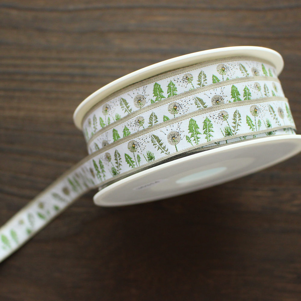 【50cm単位】acufactum314 約幅16mm たんぽぽと春の葉柄のジャガードリボン チロリアンテープ