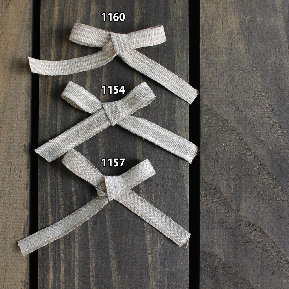 【7色】No,1154-10mm リネンリボン 2ライン 平テープ