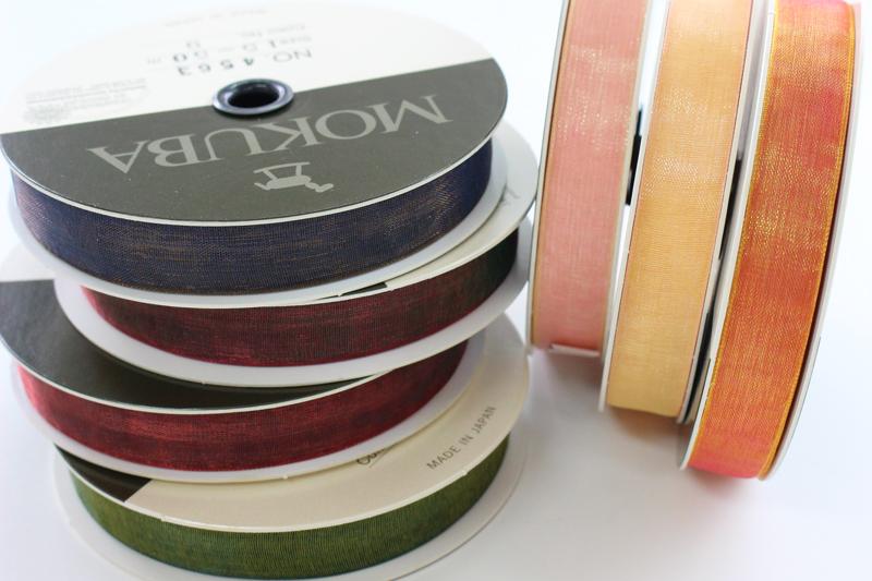 【7幅/23色】MOKUBA 4563 オーガンジーリボン/50m巻