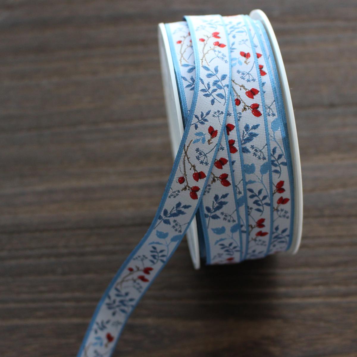 acufactumアクファクトゥム【50cm単位】約幅16mm/ローズヒップとブルーの葉柄ジャガードリボン チロリアンテープ