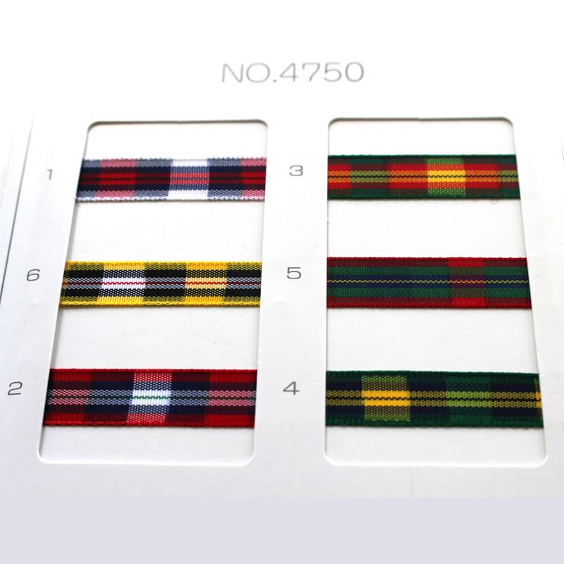 【約9mm幅/6色】MOKUBA 4750K-9mm チェックリボン/10m巻き