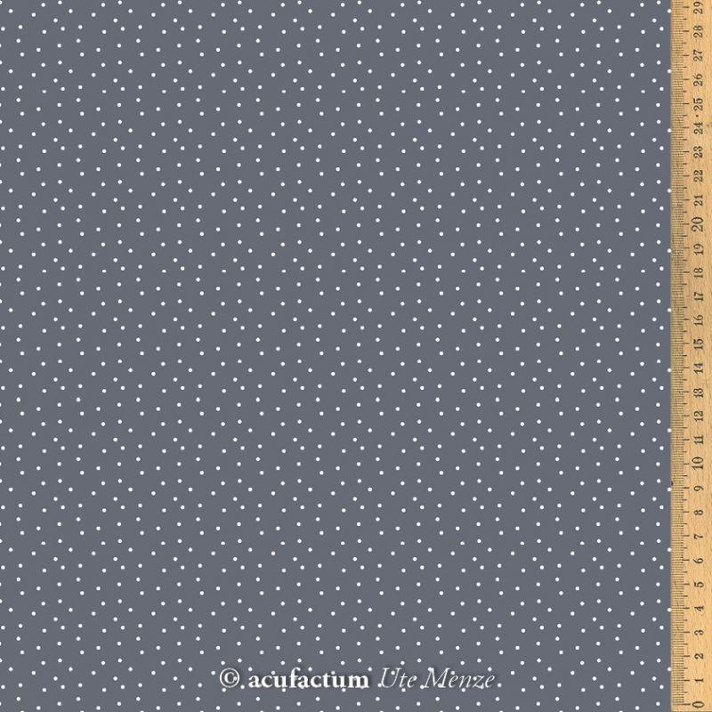 【140cm×50cm】ドイツ輸入生地 acufactum772 ダークグレーにオフホワイトドット柄の生地